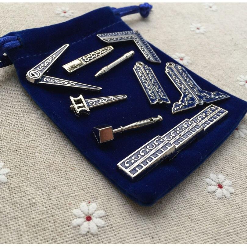 9 Verschiedene Kleine Größe Klassische Freimaurer Arbeitsgeräte Miniatur Freimaurer Geschenke Feine Handwerk für Maurer mit Stoffbeutel