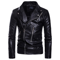 2019 New arrival Motorcycle Leather Jacket Men Casual Biker Jacket Slim Fit Zippers Male Faux Leather Jackets and Coats M 5XL