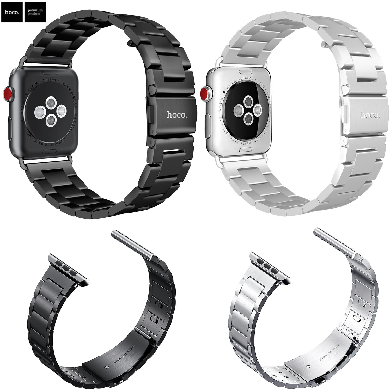 HOCO Sport Strap for Apple Watch Band 38mm 42mm iWatch 3 2 1 Stainless Steel Wrist Band Link Bracelet Watch Band Strap butterfly lock link bracelet watch band strap for apple watch 38mm 42mm stainless steel