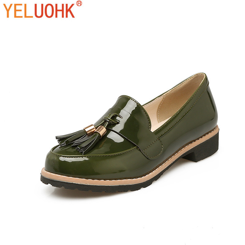 35-43 Patent Leather Flat Shoes Women Loafers Moccasins Women Shoes Flats Plus Size weiqiaona crystal women shoes women flats new style ballet princess shoes patent shoes casualfashion shoes size 31 43