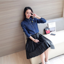 Womens denim Shirt 2017 New Style Spring Summer Clothing Harajuku Patch Designs Loose Blue Blouses Long Sleeve Cotton Tops
