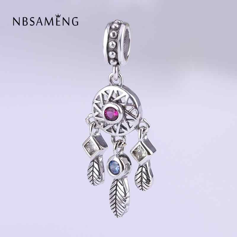 Authentic 925 Sterling Silver Bead Cor Cristal Dreamcatcher Pingente Charme Fit Pandora Original Pulseira DIY Encantos Jóias