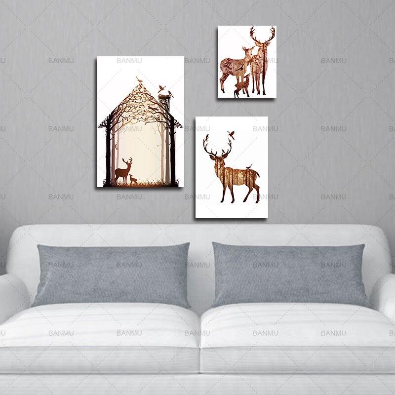 Çam meşəsi kətanları ilə maral ailəsinin silueti, - Ev dekoru - Fotoqrafiya 3