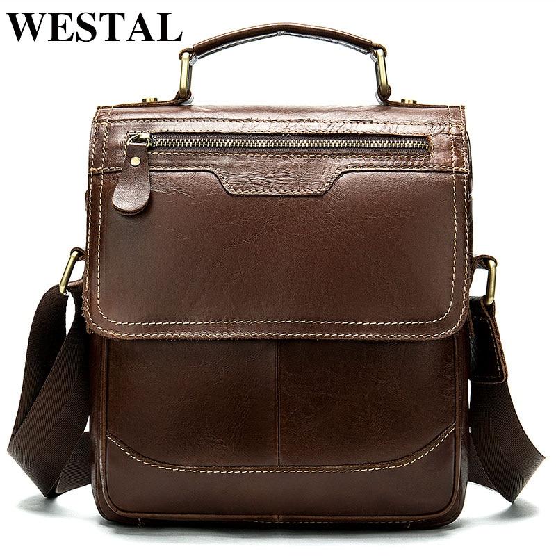 WESTAL shoulder bag for men's genuine leather bag vintage men's crossbody handbag messenger bag zip flap men's shoulder bag 8613