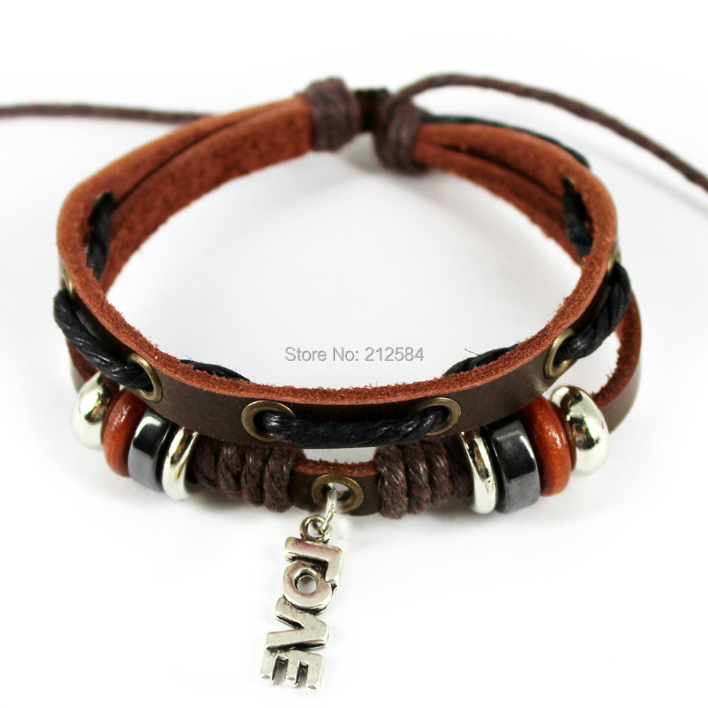 G311 Love Words Handmade Surfer Ethnic Hemp 2 Layer Leather Bracelet Men  Women Charm Wrap Bracelet