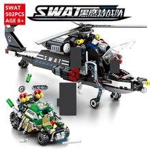 502Pcs Large Helicopter Pursuit Black Hawk SWAT Military Building Blocks Bricks Educational Toys for Children