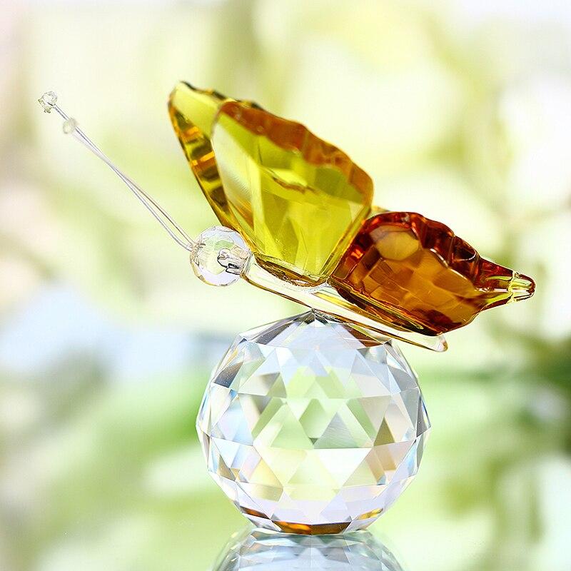 H&D Crystal repülő sárga pillangó kristálygömb alap figura - Lakberendezés - Fénykép 2