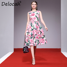 Delocah Women Spring Summer Dress Runway Fashion Designer Sleeveless Gorgeous Beading Appliques Casual A-Line Lady