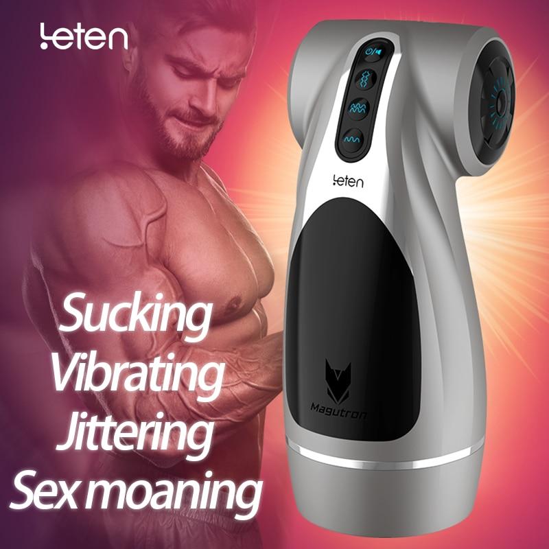 Leten Automatic Hip Vaginal Male Masturbator Jitter Vibrate Suck Sex Moan 4 Feature Sex Machine Vibration Adult Sex Toys For Men