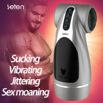 Leten Automatic Hip Vaginal Male Masturbator jitter vibrate Suck sex moan 4 feature Sex Machine Vibration Adult Sex Toys for Me - DISCOUNT ITEM  20% OFF All Category