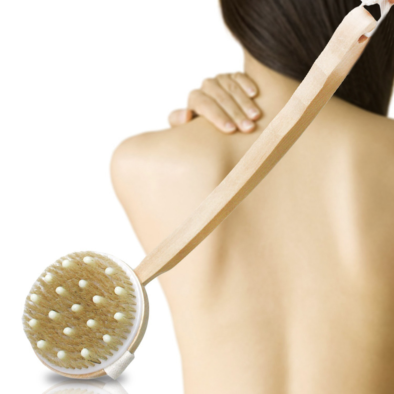 Top Sell Natural Bristle Long bent back rubs Spa massage bath brush BS