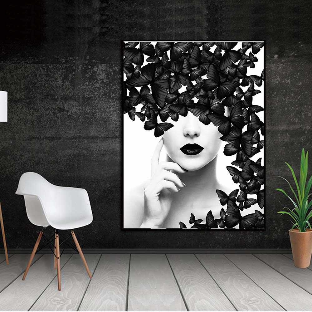 WANGART  Nordic Quote Poster Black White Butterfly Woman Wall Art Canvas Prints Wall Pictures Modern Paintings no Framed