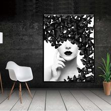 WANGART Nordic Quote Poster Black White Butterfly Woman Wall Art Canvas Prints Wall Pictures Modern Paintings no Framed(China)