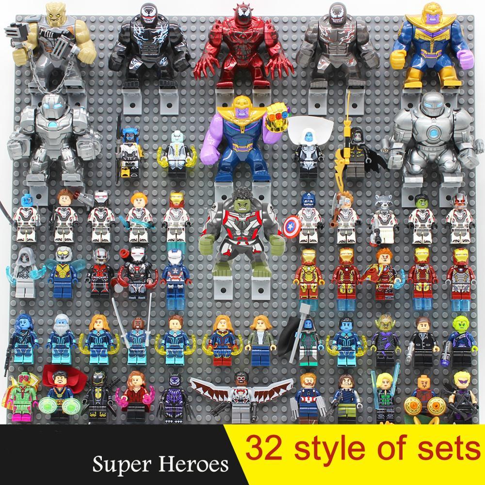 Super Heroes Figure Set Iron Man Deadpool Venom Spiderman Thanos Antman Thor Display Stand Building Blocks Figures Toys Gift