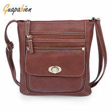 Guapabien Fashion Solid Color Women Shoulder Bags PU Leather Multi-Pockets Turn Lock Messenger Bag Ladies Crossbody Handbags