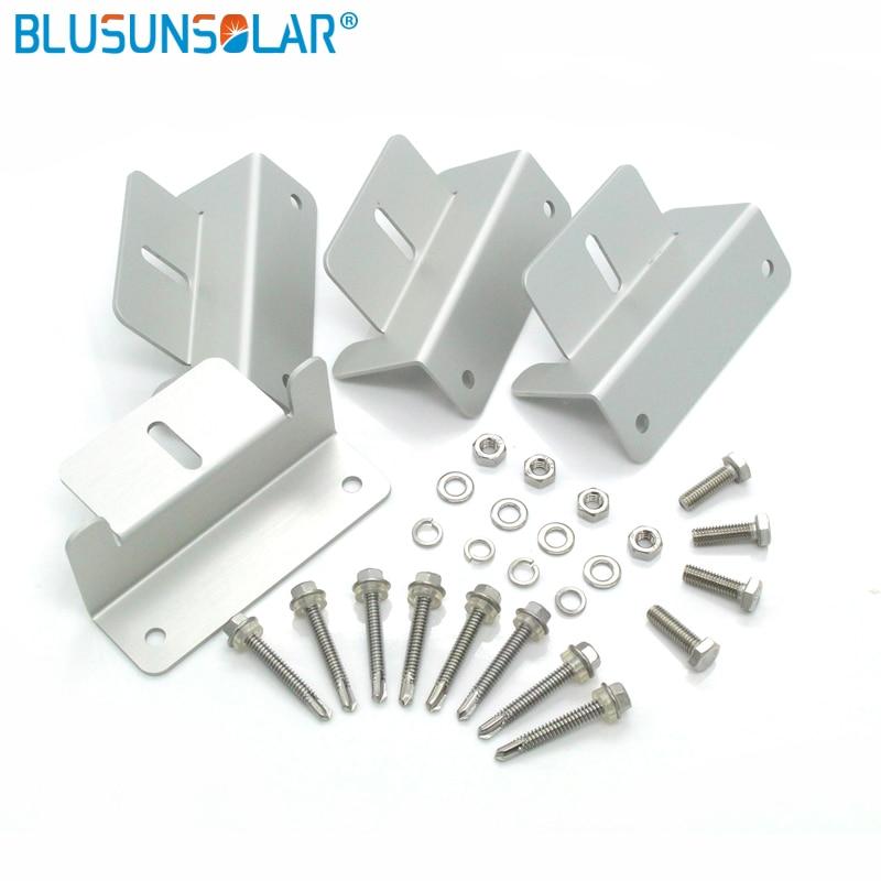 4pcs Solar Panel Mounting Z Type Bracket Aluminum W// Stainless Bolt 1 Set