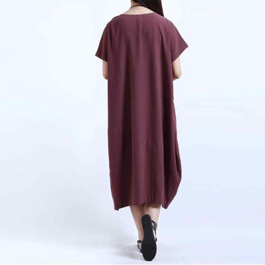 d5a2d3cce10f ... Cotton Linen Kaftan Dress Short Sleeve Loose Pocket Long Bohe Dresses  Women Casual Straight Dresses Floor