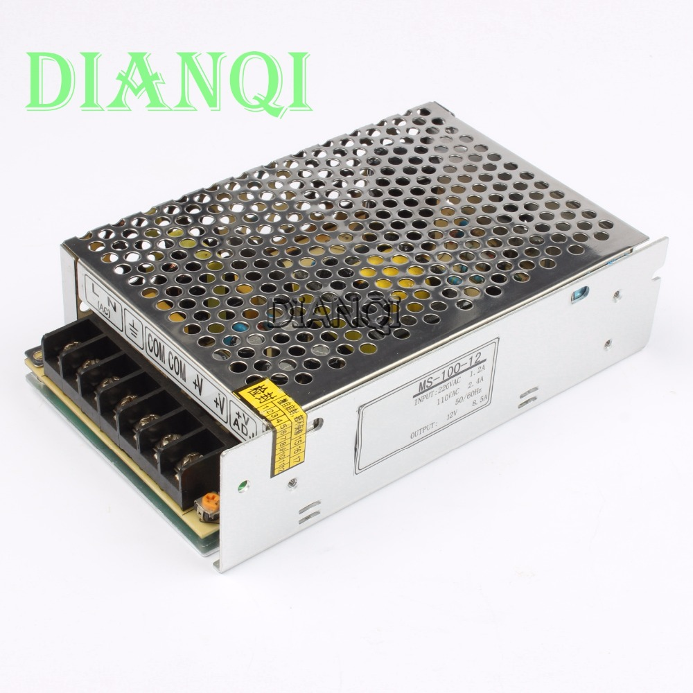 DIANQI power supply 100W 12V 8.3A power suply unit 100w 12v mini size din led ac dc converter ms-100-12 spe 100w 12v 100w 8 3a led power supply silver