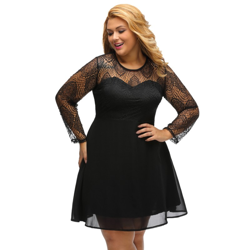 2017 Women Clothes Plus Size Lace Top Long Sleeve Skater Dress Black