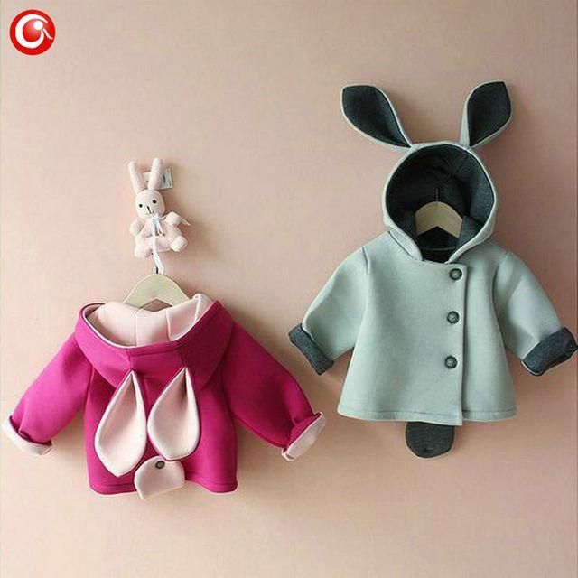 Oreja de conejo bebé traje abrigos para niñas infantil chicos chaquetas con capucha suave princesa niños unisex ropa outwear 2017 clothing