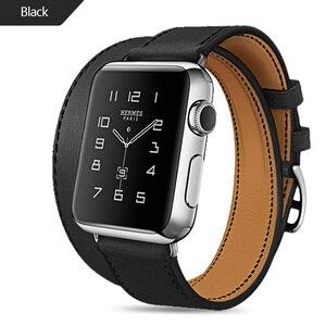 Image 4 - ロングソフト革バンド時計iwatchシリーズ6 5 4 3 2 40ミリメートル44ミリメートル38ミリメートル42ミリメートルダブルツアーブレスレットストラップスマートウォッチのための