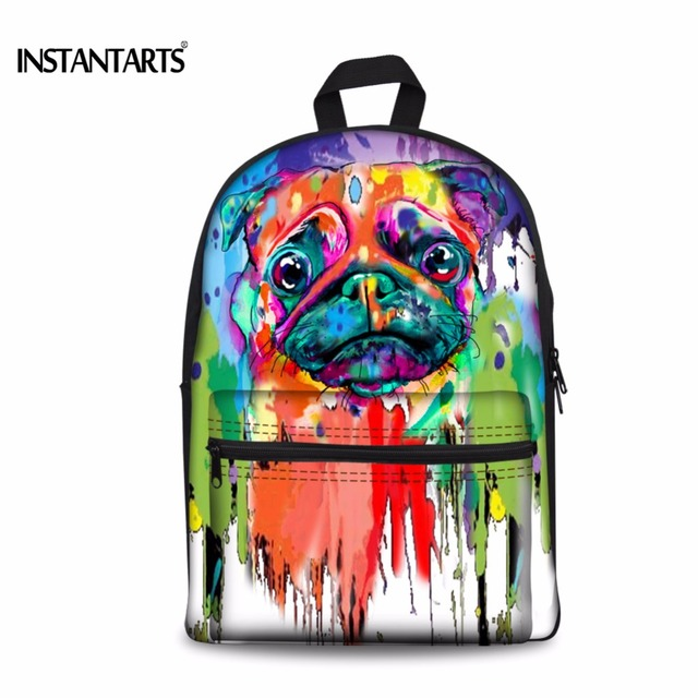 d699e0757aed INSTANTARTS Colourful Painting French Bulldog Kids Backpacks Funny Primary  School Students Bookbags Cute Children Shoulder Bags