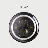 7 Inch 45W H4 LED Headlights Daymaker Lamp With Angle Eyes 7 Round Headlamp For Lada