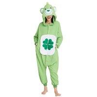 Ensnovo Christmas Polar Fleece Adult Unisex Womens Onesie Cosplay Pajamas Green Bear Animal Costumes Cartoon Sleepwear