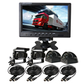 """FREE SHIPPING 12V - 24V 9"""" LCD Quad Split Car Monitor 4CH Video View Kit Front Side Rear View SONY 600TVL Camera for Truck Bus"""