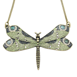 Victorian Green Celtic Dragonfly Enamel Wing Art Nouveau Pendant Necklace Jewelry Handmade Art Deco Kitsch Costume(China)