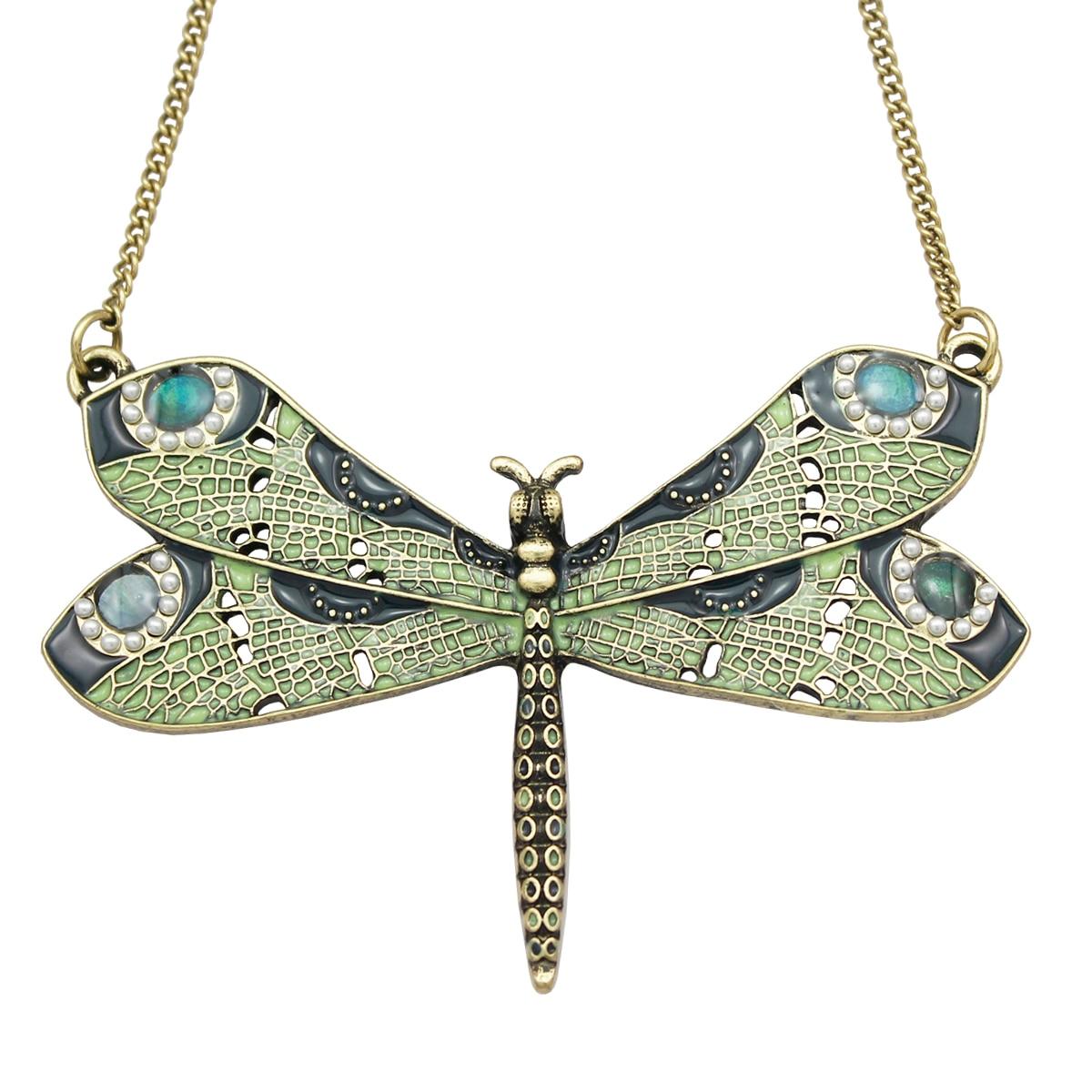 Victorian Green Celtic Dragonfly Enamel Wing Art Nouveau Pendant Necklace Jewelry Handma ...