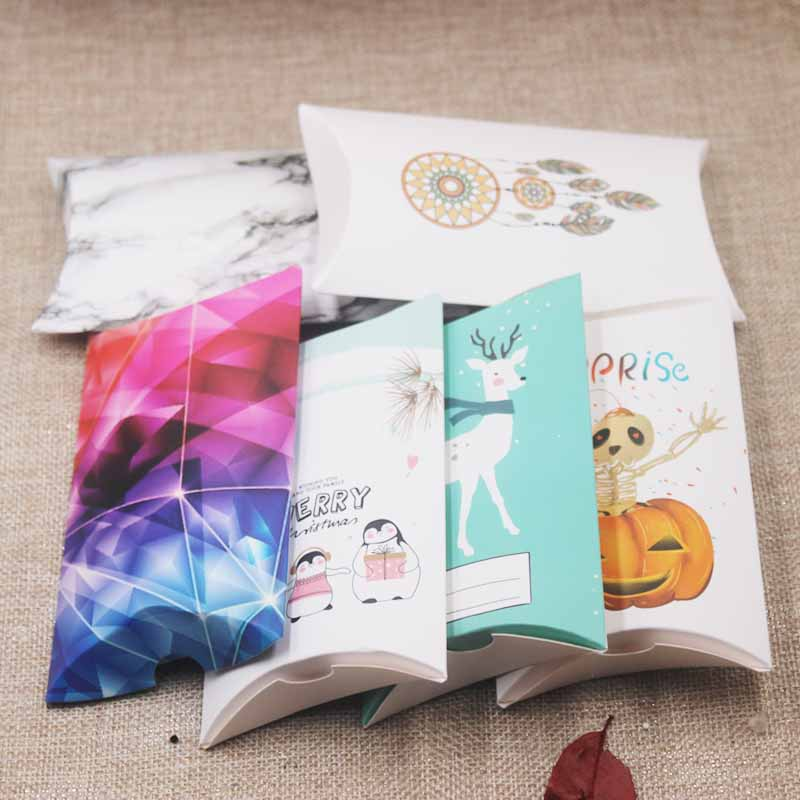 Feiluan Gift Package 10pcs 8x5.5x2cm/12.5x7x2cm Pillow Box White/ Kraft Halloween Merry Christmas Happy New Year Pillow Gifts