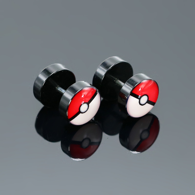 Pokemon Surigical Steel Fake Piercing Plug Ear Rings