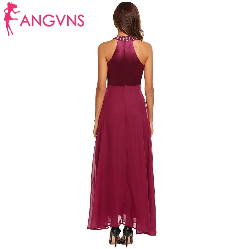 ANGVNS Elegant Women Satin Chiffon Maxi Party Dress Cold Shoulder  Sleeveless Rhinestones Collar Long Dresses Evening Vestidos-in Dresses from  Women s ... 0d4822434726