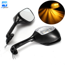 1 Pair Motorcycle LED Turn Signal Rear View Mirror For Suzuk