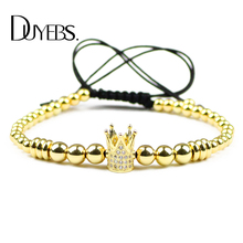 Фотография DUYEBS Crown Charms Bracelet Men 4/6mm Copper Beads ball Zircon CZ Braided Rope Women Bangle Fashion Jewelry Pulseira Masculina