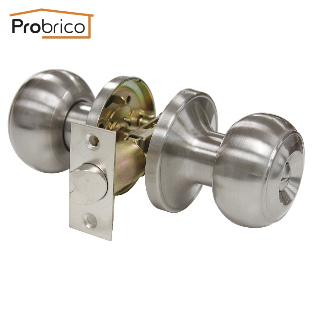 Probrico Stainless Steel Safe Lock Satin Nickel Security Door Lock DL609SNBK Door Handles Privacy Door Keyless Lock Knobs стоимость
