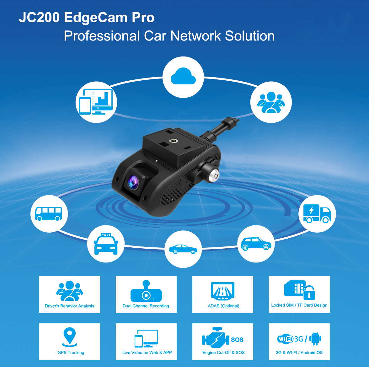 US $167 99 16% OFF|Jimi JC200 EdgeCam Pro 3G Car DVR Dash Camra Car Camera  With HD 1080P Dual Camera GPS Tracker Remote Monitoring Live Streaming-in