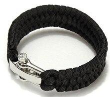 200 pcs Survival Rope Bracelet Camping Black ParaCord Rope Bracelet Outdoor Steel Shackle Buckle