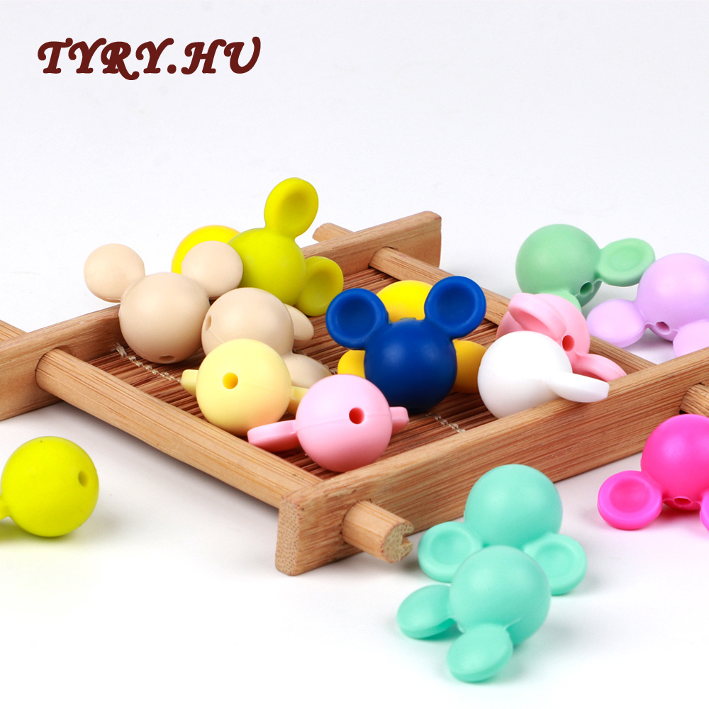 TYRY.HU 10Pcs/lot Silicone Beads Lovely Mickey Mouse Shape For DIY Baby Teething Necklace Accessories BPA Free Toy Baby Teether