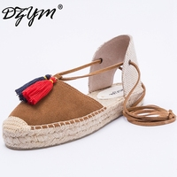 DZYM 2018 S Summer Canvas Espadrille High Quality Moccasin Women Flats Ankle Strap Leisure Ballerina Shoes Sapato Feminino
