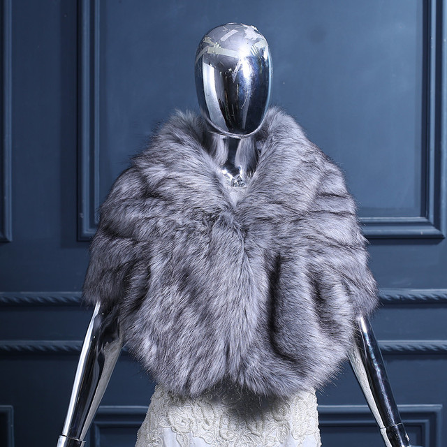 New Arrival Fashion Wedding Cape Faux Fur Wraps Shawl Evening Party Prom Wraps Women Warm Autumn Winter Shawls