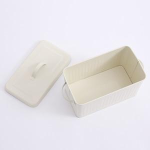 Image 4 - 8L גדול מתכת לחם קופסא עם מכסה אבק הוכחה מקרה קרם לבן רטרו אחסון סל מטבח מזון מיכל ארגונית אחסון תיבה