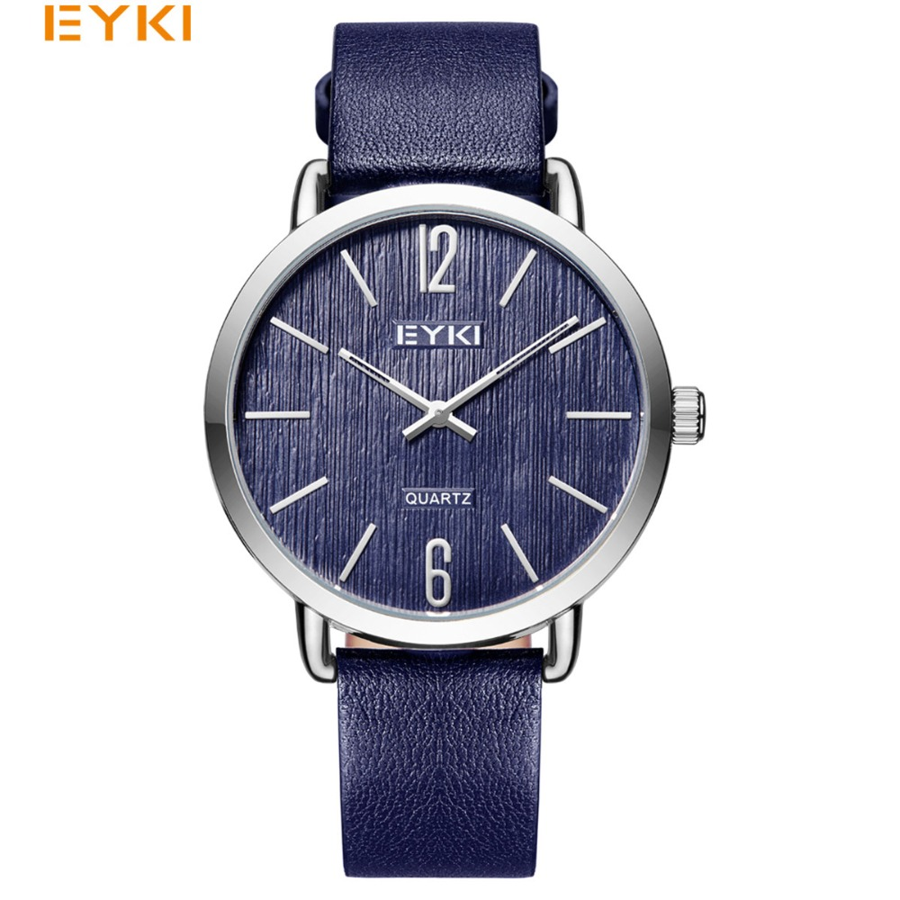EYKI Mens Watches Simple Casual Military Quartz Wristwatch Women Leather Strap Male Ultra Thin Lover's Watches relogio masculino eyki h5018 high quality leak proof bottle w filter strap gray 400ml