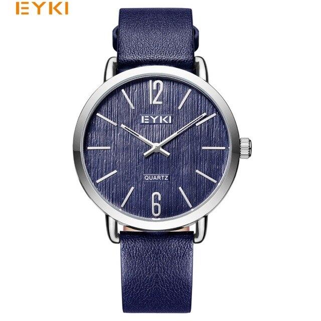 5f8700a3286b2 EYKI رجل الساعات بسيطة عارضة العسكرية الكوارتز ساعة اليد جلد النساء حزام  الذكور رقيقة جدا العشاق