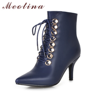 Meotina Ankle Boots Women High Heels Motorcycle Boots Pointed Toe Shoes Zip Punk Lace Up Shoes