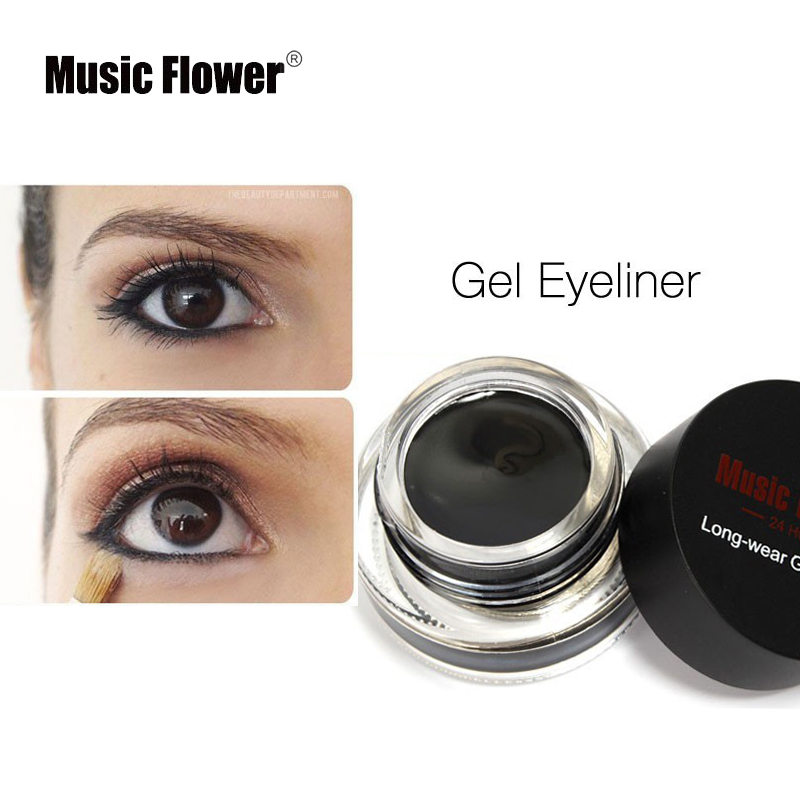 Music Flower Eye Liner Snabbtorkande Makeup Brushes för Eyeliner 3-färg Vattentät Blue Gel Cosmetic Tool