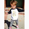 Novo 2017 baby boy roupas de algodão dos desenhos animados impresso manga longa t-shirt + calças roupas infantis roupas 2 pcs terno do bebê menina conjuntos
