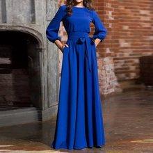 Autumn Party Dress Women Long Elegant Plus Size Fashion Robe Vintage Lantern Sleeve Ladies Casual Black Maxi Dresses 2019