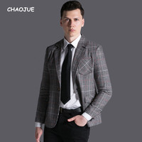 CHAOJUE Vintage Plaid Blazer For Mens 2017 New Design England Stylish Long Sleeve Top Coat Gentle